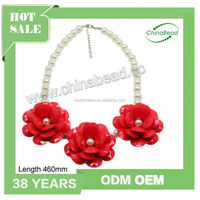 Plastic Beaded Necklace, Global Hot Selling Crochet Flower Necklace