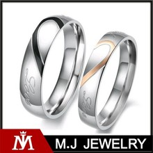 love couple set heart stainless steel real love wedding ring
