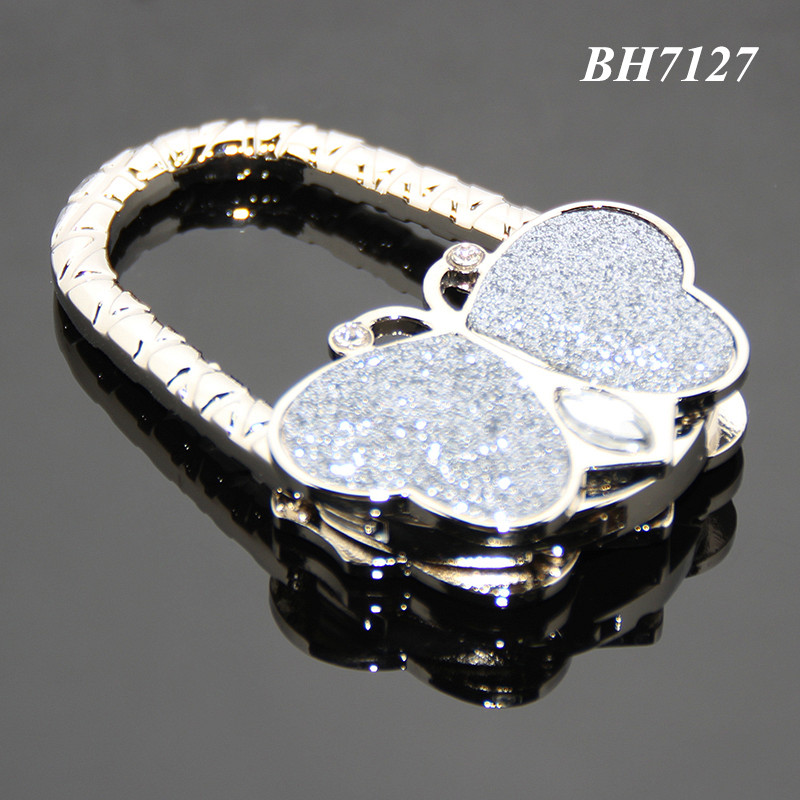 Gray Color Glitter Butterfly Shaped Portable Rhinestone Crystal Alloy Purse Handbag Folding Metal Purse Hanger Wholesale