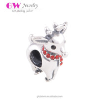 925 Sterling Silver Deer Bead With Red CZ Collar Christams Bracelet Charm