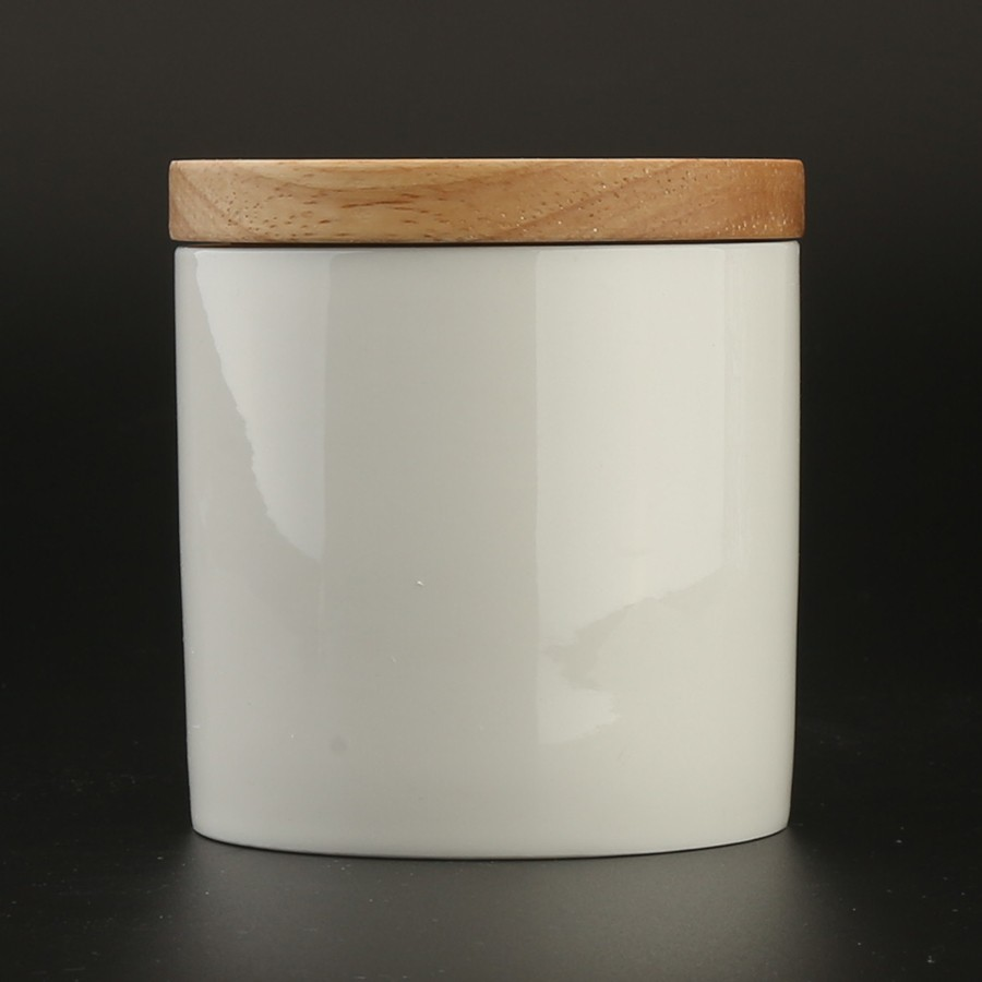 10oz 280ml Plain White Ceramic Coffee Tea Canister With Bamboo Lid and Silicone Ring Airtight