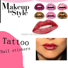 2015 new arrival lip stickers body tattoo nail art ,sexy temporary tattoo