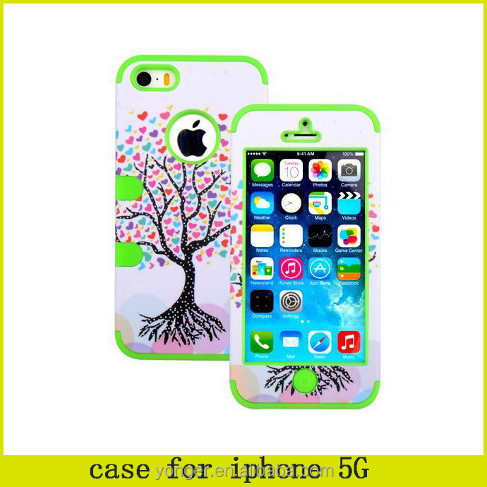 3 in 1 Love Heart Tree Pattern Detachable Hybrid Silicone+PC Case for iPhone 5