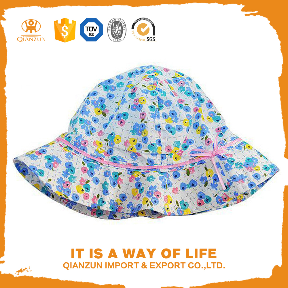 floral printing bucket sun hat for children kids baby infant