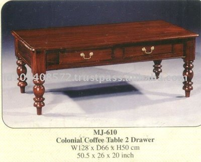 Colonial Coffee Table 2 Drawer Mahogany Indoor Furniture.