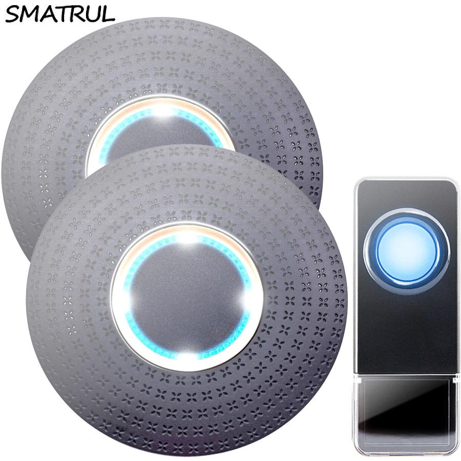 SMATRUL New Waterproof Wireless Doorbell EU Plug 300M Remote smart Door Bell Chime ring 1 button 2 receiver no battery Deaf Gorgeous lighting black