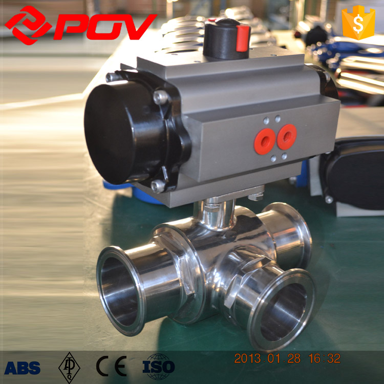 3 way stainless steel sanitary pneumatic ball valve