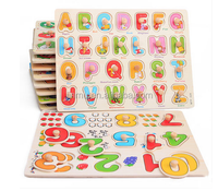 Wooden educational toys of jigsaw puzzle with knob