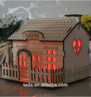 China promotional laser cut DIY wooden miniature doll house ornament