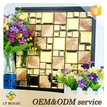 Italian Modern Style Gold Crystal Glass Mirror Glitter Patterns Mosaic Tile For Kitchen Wall Decoration