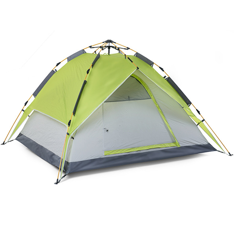Green 3-4 people double layers polyester stretch tent fabric Outdoor family picnic pop up automatic stretch tent