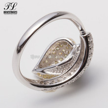 Guandong custom 925 silver ring with clear zircon meda in china,jewelry lot