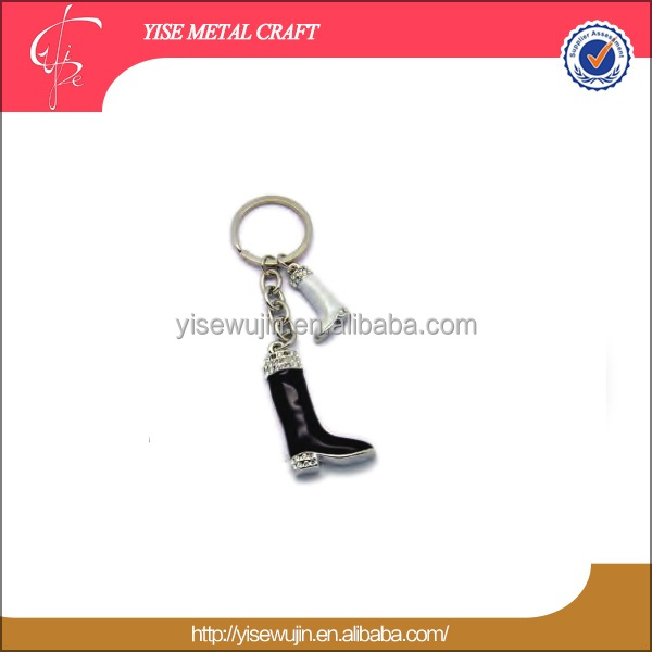 brand black boots keychain gift souvenir fashion style bottine key ring metallics crystal boot key holder