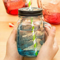 2016 hot sales pump lid 480ml colorful glass mason jar with handles wholesale