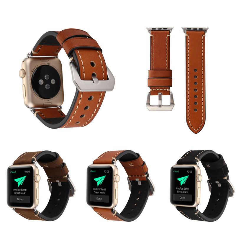 Gold Supplier Watch Band for Apple Watch Genuine Leather 38mm/42mm