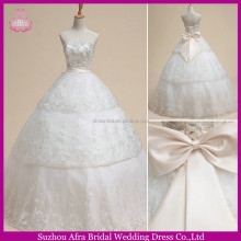 SW723 white lace gold beading cheap 2013 civil wedding dress with pink bow sash