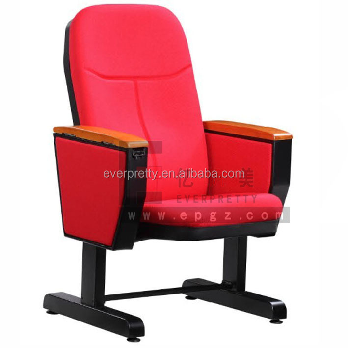Space Saving Folding Chair Red Color Auditorium Chair with Table Theater Folding Seat