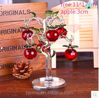 decoration gift red crystal apple tree