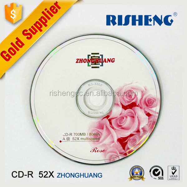 RISHENG full face blank cd-r printable grade a/blank white inkjet printable disk/wholesale blank print cd/dvd