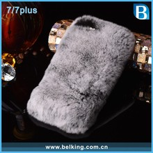 Winter Warmly Plush Phone Case for iPhone 7/For iPhone 7 Rabbit Hair Fur Back Cover