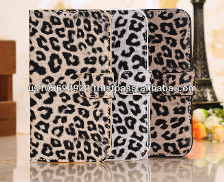 Fashion Leopard Smart Stand Leather Case Cover For Sumsung Galaxy S4 /I9500 Paypal accepted