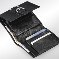 RFID blocking Tri-fold cowhide Lichee leather wallet with coin purse