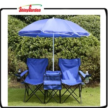 Portable Folding Double Camping Beach Chair with Cooler and Umbrella