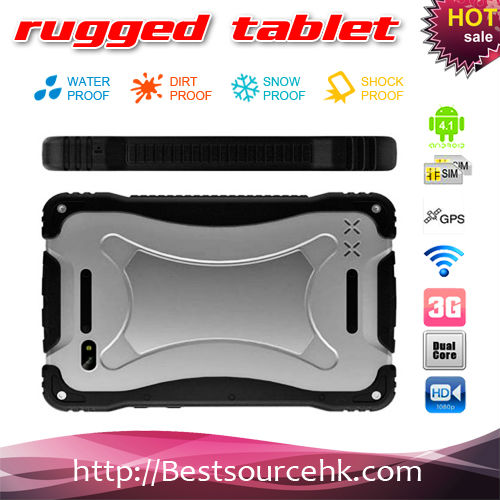 2013 New Listing! 7inch Rugged tablet pc with IP67 waterproof standard 3G+ GPS + Battery 11000mah