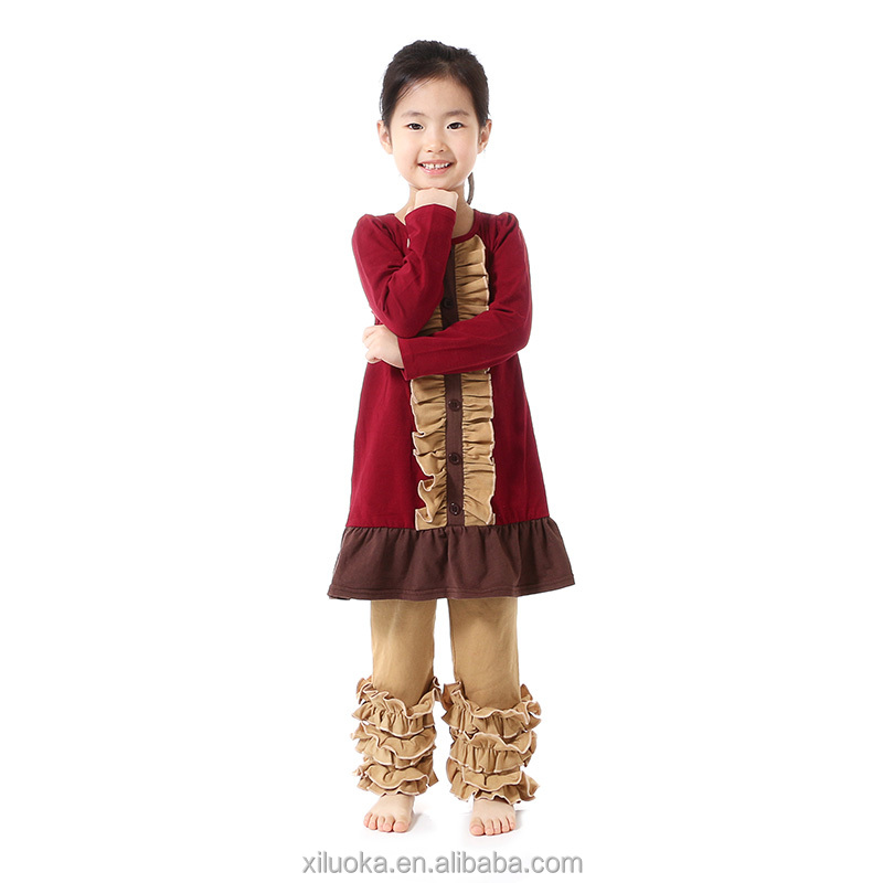 Baby girls thanksgiving outfit ruffles fall set kids wear new model