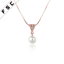 Wholesale fashion jewelry natural freshwater pearl pendant necklace for girls