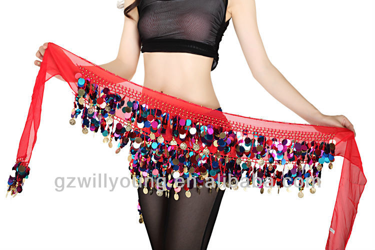 88 Coins Chiffon hip scarf Free Shipping Belt Belly Dance Dancing Scarf Hip Long Skirt Sequin Golden Coins