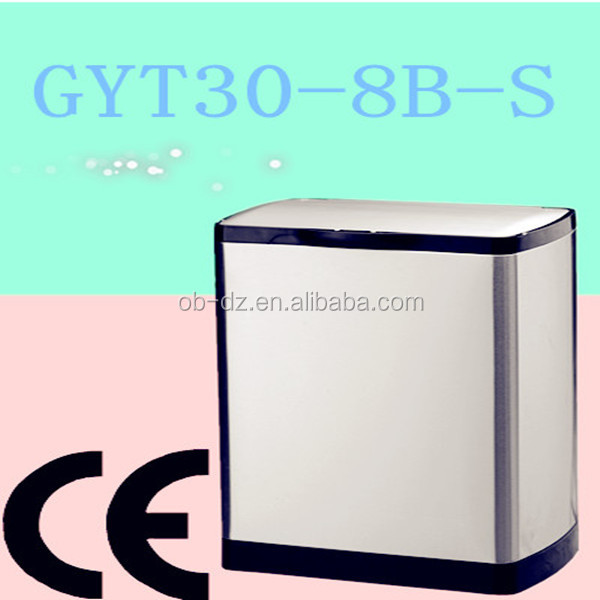 30L square wholesale recycling bins inox containers(GYT30-8B-S)