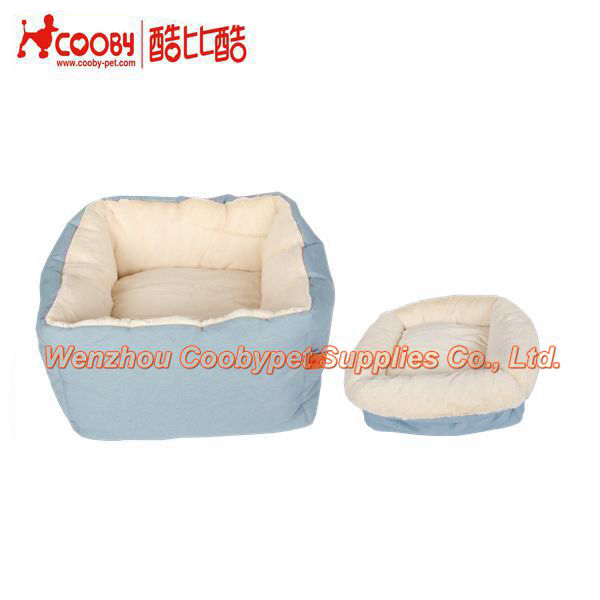 cute rectangle cat bed, deep sleeping cushion cat bed, PV fleece and canvas cat bed