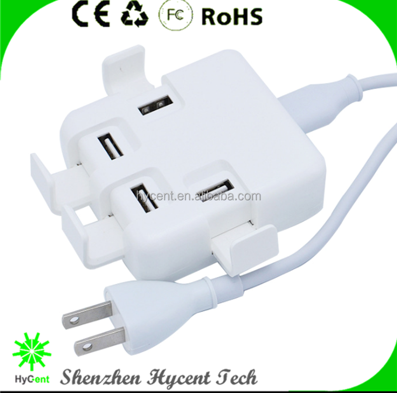 Cute 4 USB Ports Plug Power Adapter Dock Charger Holder for phone / tablet quad USB port power station adapter