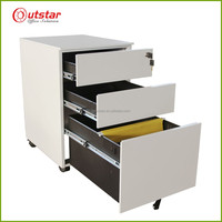 Knock Down Office Filing 3 Drawers Central Lock Metal Mobile Pedestal