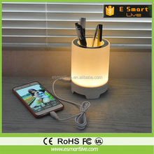 magic battery powered cordless portable mini app control smart led light table desk lamp with bluetooth speaker