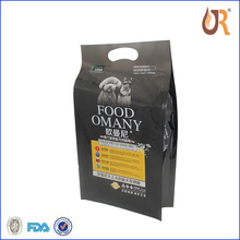Stand up dog food packaging bag, made of matte OPP/PET/PE, with zipper and clear window