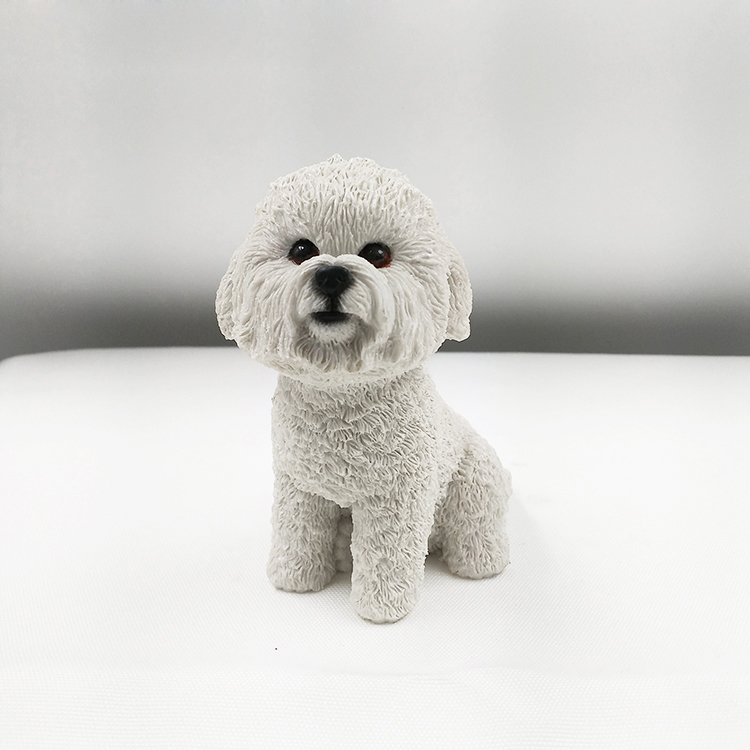 Dog giftwares resin arts Small Artificial Bichon Frise Resin <strong>Crafts</strong> For Auto Ornament