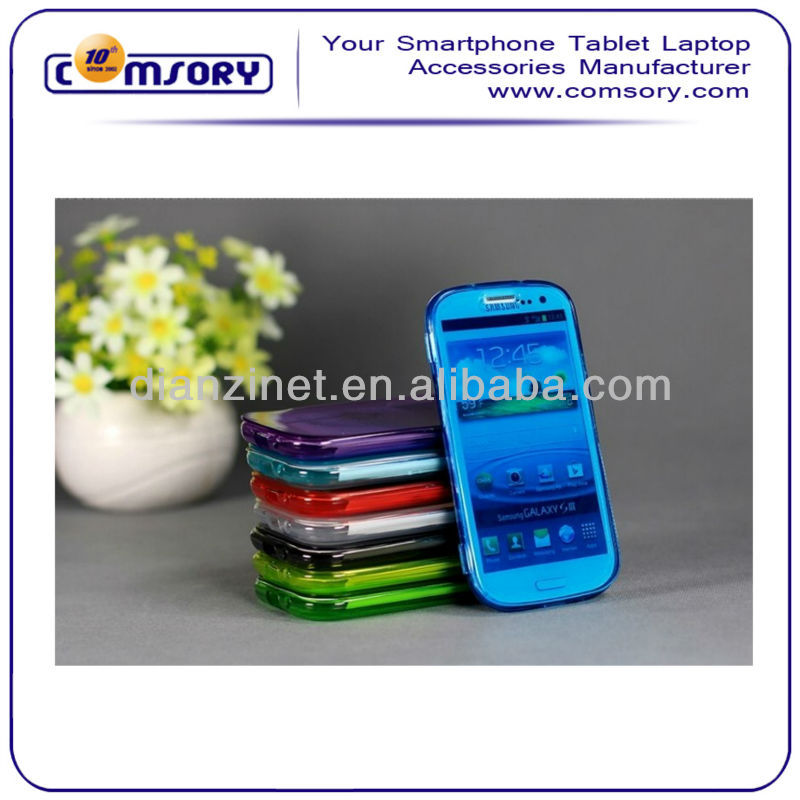 Soft Transparent phone case with cover for samsung galaxy S3 i9300 Paypal Acceptable