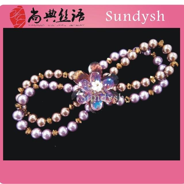 antique chunky faux pearl flower fashion purple handmade beaded gemstone natural stone stretch bracelets crystal wholesale