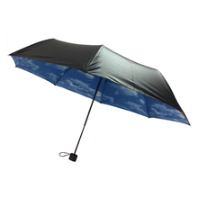 2017 products the blue sky white clouds printed 3 Foldable Umbrella