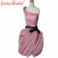 Fashion Short Party Dresses New One Shoulder Blush Cocktail Gowns