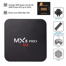 Amlogic S905 Android TV Box MX8 Pro Amlogic S905 Quad Core 4K TV Box Android 5.1 with KODI Android Media Player Smart TV Box