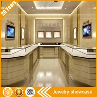 Customized glass plywood jewellery display showcase cabinet table with LED lighted for jewelry shop