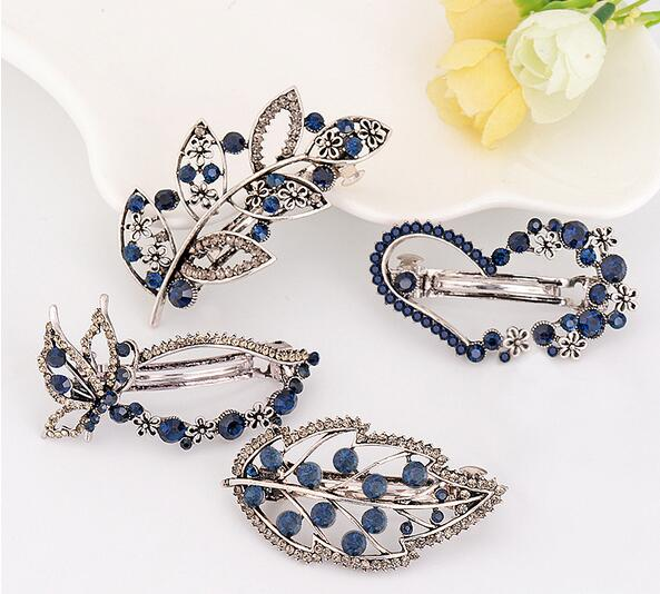 Stylish Women Heart Butterfly Rhinestone Simple Pinch Cock Hair Clip
