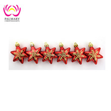 hot sale !6CM Round Hexagon star exquisite christmas tree decoration ,hanging christmas bauble , painted christmas craft gift