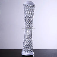 Elegant Tall Hurricane Beaded Crystal Vase For Wedding Centerpiece