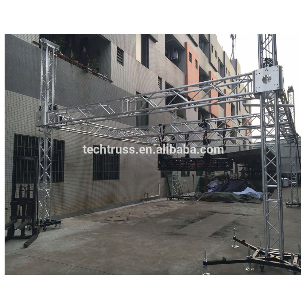4 pillar 12m*10m*8m aluminium truss system for ground support display truss