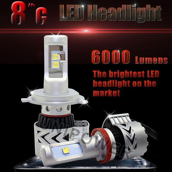 2016 latest G8 6000lm DC12-24Vplug&play 35w car led headlight bulb 9007 hi/low beam led headlight