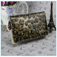 Wholesale high quality fashion women long skull real leather wallet